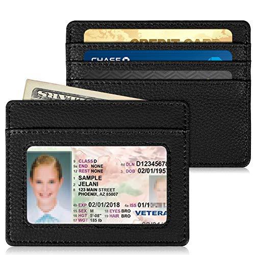Slim Minimalist Front Pocket Wallet, Fintie RFID Blocking Credit Card Holder Card Cases with ID Window for Men Women (Black)