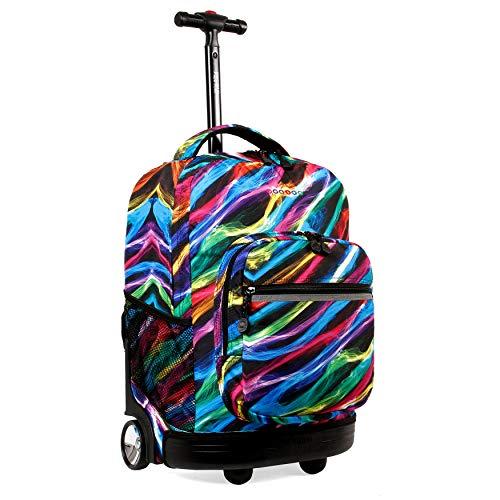 J World New York Sunrise Rolling Backpack. Roller Bag with Wheels, Quantum, 18'
