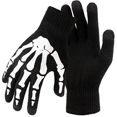 Cooraby 3 Pairs Unisex Halloween Touchscreen Skeleton Gloves Full Finger Skeleton Pattern Glow in The Dark Gloves