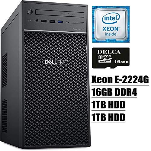 Dell PowerEdge T40 Tower Server 2020 Premium Desktop I Intel Quad-Core Xeon E-2224G 3.5GHz I 16GB DDR4 1TB HDD 1TB HDD I DVD USB-C UHD Graphics P630 No Operating System + Delca 16GB Micro SD Card