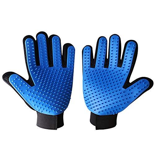 CheerMaker Pet Grooming Glove, Gentle Deshedding Brush Glove Efficient Pet Hair Remover Mitt,Enhanced Five Finger Design,Breathable & Comfortable for Dog,Cat,Horses with Long/Short Fur,1 Pair
