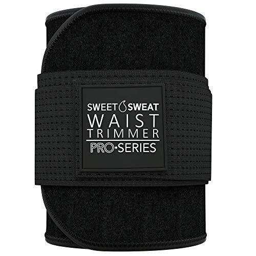 Premium Sweet Sweat Waist Trimmer 'Pro Series' Belt for Men & Women (BLK/White, XS-S)