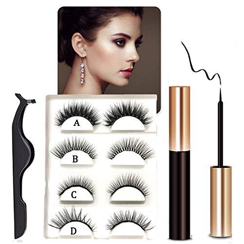Magnetic Eyelashes With Eyeliner, Magnetic Eyeliner And Lashes, Magnetic Eyelash, Magnetic False Lashes with Magnetic Eyeliners Kit Easy To Wear (4-Pairs)