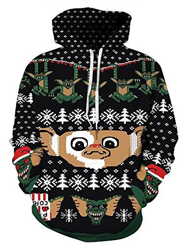 Couple 3D Santa Print Ugly Christmas Kangaroo Pocket Sweatshirt Hoodies Pullover Elf L