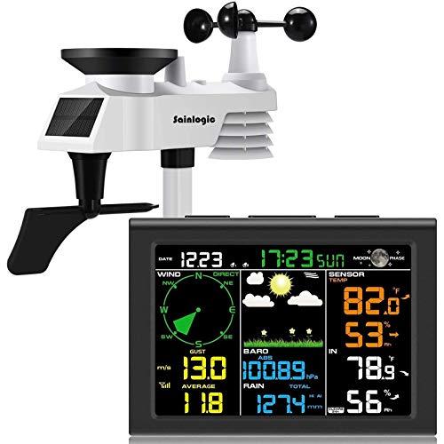 sainlogic Wireless Weather Station with Outdoor Sensor, 8-in-1 Weather Station with Weather Forecast, Temperature, Air Pressure, Humidity, Wind Gauge, Rain Gauge, Moon Phrase, Alarm Clock (Black)