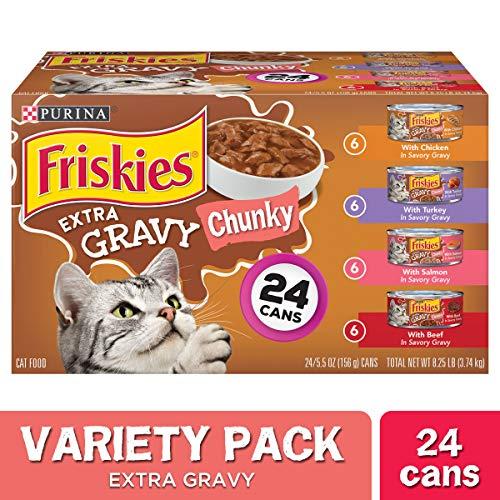 Purina Friskies Gravy Wet Cat Food Variety Pack, Extra Gravy Chunky - (24) 5.5 oz. Cans
