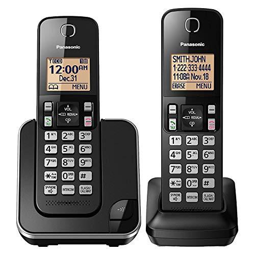 PANASONIC Expandable Cordless Phone System with Amber Backlit Display – 2 Handsets – KX-TGC352B (Black