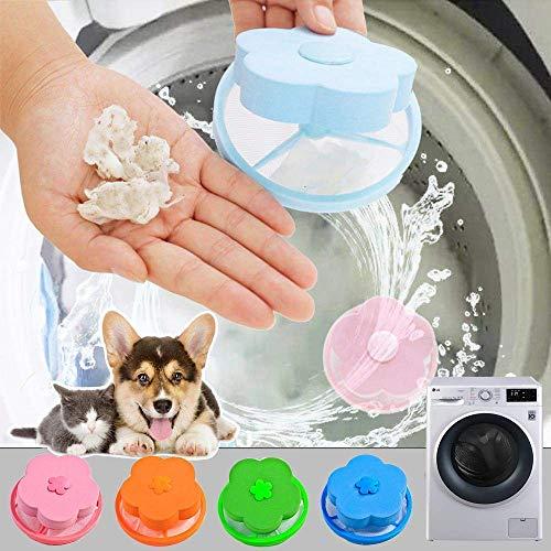 4 Pieces Lint Catcher for Washing Machine Lint Trap Floating Hair Fur Catcher Laundry Reusable Hair Filter Lint Mesh Bag