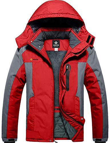 GEMYSE Men's Mountain Waterproof Ski Snow Jacket Winter Windproof Rain Jacket (Red Grey,Small)