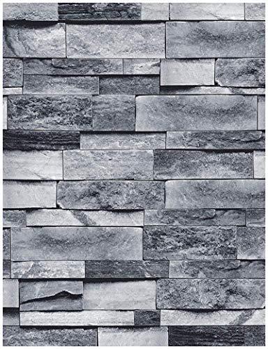 Brick Peel and Stick Wallpaper Shiplap Grey 3D Effect Brick Self-Adhesive Removable Wallpaper,Decorative Waterproof Wallpaper and Shelf Liner,Home Decoration 17.7'X118.1'