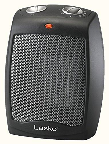 Lasko Ceramic Adjustable Thermostat Tabletop or Under-Desk Heater, Black CD09250