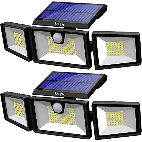 KOLYES Solar Lights Outdoor - 2 Pack, 132 LED 1000LM Bright Wireless Solar Motion Sensor Lights Outdoor with 3 Lighting Mode, Adjustable & Wide Lighting Area, IP65 Waterproof Durable LED Flood Lights
