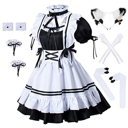 Anime French Maid Apron Lolita Fancy Dress Cosplay Costume Furry Cat Ear Gloves Socks Set(M) Black-White