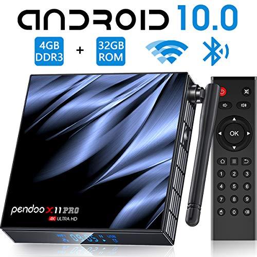 Android TV Box 10.0 4GB RAM 32GB ROM,[2020 Newest] Pendoo X11 PRO TV Box Allwinner H616 Quad-Core 64bit with Dual-WiFi 5GHz/2.4GHz BT 4.2, USB 3.0 Ultra HD 6K H.265 Android TV Box
