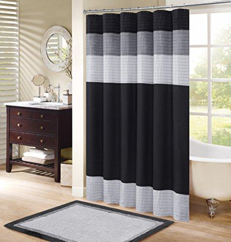 Comfort Spaces Windsor Bathroom Shower Pieced Ruffle Pattern Modern Elegant Microfiber Fabric Bath Curtains, 72x72, Black