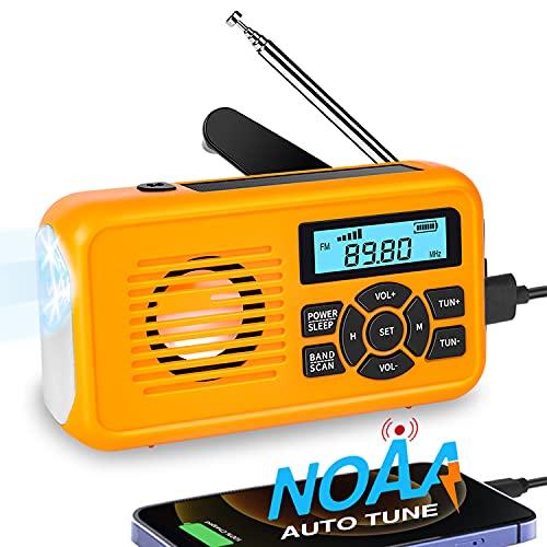 NOAA Emergency Weather Radio, Auto-Tune AM/FM Solar Hand Crank Radio, Survival Solar Radio with LED Flashlight, Solar Charger, SOS Alarm, Power Bank for Outdoor Emergency Supplies