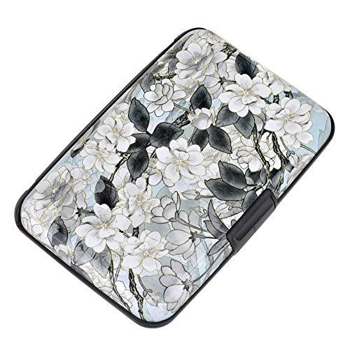 Elfish Mini RFID Aluminum Wallet Credit Cards Holder Business Card Case Metal ID Case for Men Women (White Lotus)