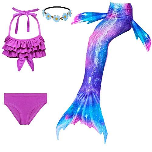 Familycrazy 2019 New Girls Swimsuit Mermaid for Swimming Princess Bikini Bathing Suit Set for 3-12Y(No Monofin)