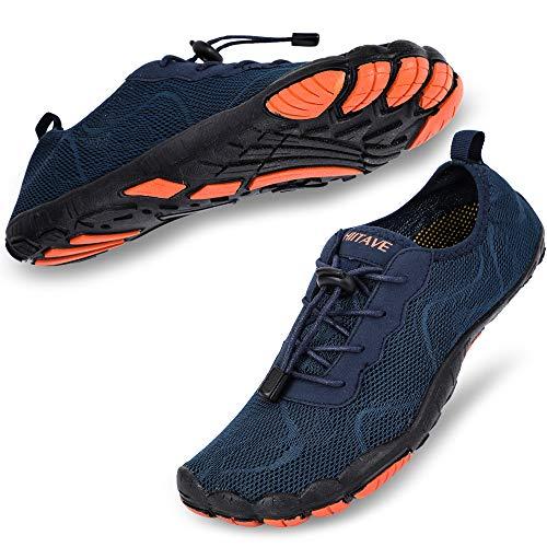 hiitave Men Water Shoes Barefoot Quick Dry for Beach Aqua Swim Pool Diving Surf Sports Walking Sailing Navy 9 M US Men