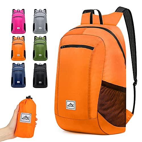 Hiking Backpack Ultra Lightweight Packable Camping Backpack Daypack Waterproof Outdoor bag for Travel Women Men(ORANGE 16L)