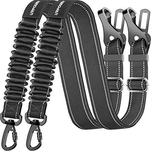 URPOWER Upgraded Dog Seat Belt 3-in-1 Dog Car Seatbelts 2 Pack Adjustable Pet Seat Belt for Vehicle Nylon Pet Safety Seat Belts Heavy Duty & Elastic & Durable Car Seat Belt for Dogs, Cats and Pets