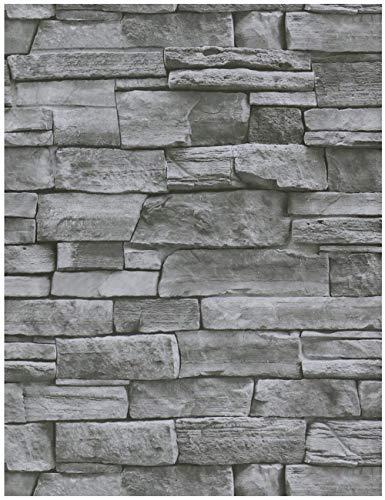 HeloHo Grey Stone Brick Wallpaper 17.71' X 118' Peel and Stick Wallpaper 3D Textured Wallpaper Self Adhesive Removable Wallpaper Kitchen Backsplash Waterproof Wallpaper Covering Bathroom Wall Decor
