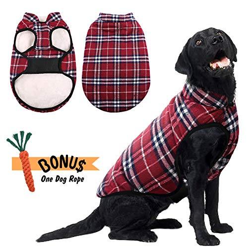 Phyxin Dog Jacket Dog Winter Coat Warm Boy Dog Clothes for Large Dogs Plaid Dog Jacket for Medium Dog Clothes Medium Fleece Jacket for Large Dogs Dog Clothing Winter Jacket for Small Dogs Red XL