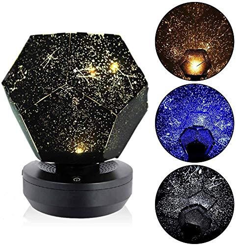 YingQ Three-Color Starlight Projector, DIY Original Family Planetarium Starry Sky Lights, Romantic Outdoor Bedroom Decoration Lights, Children's Best Gift (USB Plug-in).