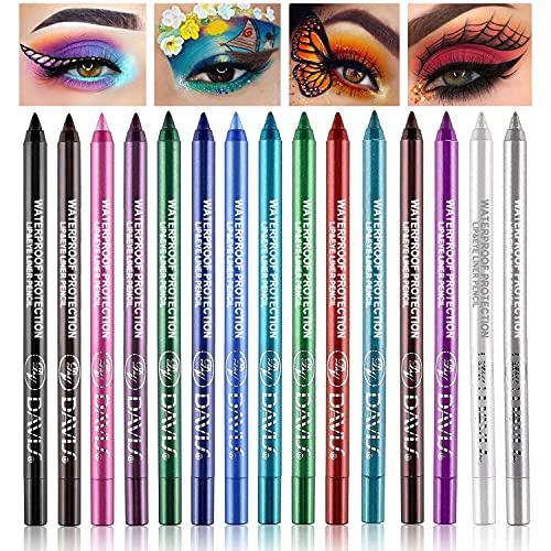 15 Colorful Eyeliner Pen Set, Eye Shadow Pencil, Pearl Eyeliner Kit Metallic Eyeliner Pencil Glitter Eyeliner for Women Eye&Lip Liner Professional Eye Makeup Set Colorful Eyeliner Eye Color