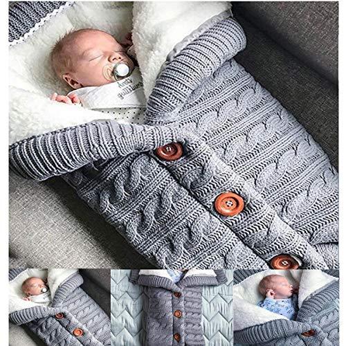 Offeree Newborn Baby Swaddle Blanket, Thick Warm Strollers Knit Blanket Plus Velvet, Baby Kid Toddler Fleece Sleeping Bag Stroller Warp for Baby Gril or Boy