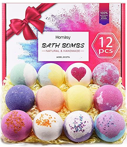 Homasy Bath Bombs, 12Pcs Bath Bomb for Women Kids, Handmade Bath Bomb Gift Set Rich in Essential Oils, Shea Butter, Sea Salt, Fizziest SPA Bubble, Festival Birthday Gifts for Her/Him, Wife, Girlfriend