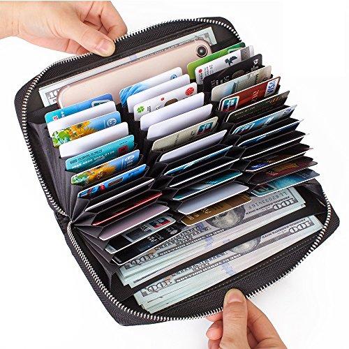 Buvelife Credit Card Wallet Leather RFID Wallet with Zipper for Women or Men, Huge Storage Capacity Credit Card Holder (Black)
