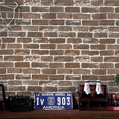 Timeet 17.7'×197' 3D Vintage Brown Brick Wallpaper Brick Self Adhesive Film Brick Peel and Stick Wallpaper Brick Wallpaper Brick Faux Textured Wallpaper Stone Look Wall Paper Home Decor Vinyl