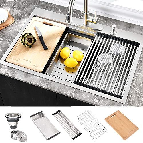 "HOSINO 33 Inch Drop In 16 Gauge Kitchen Sink Double Ledge Workstation Sink Topmount 304 Stainless Steel Single Bowl Kitchen Sink 10"" Deep Sink Rectangle Sink with Accessories Prep Sink"