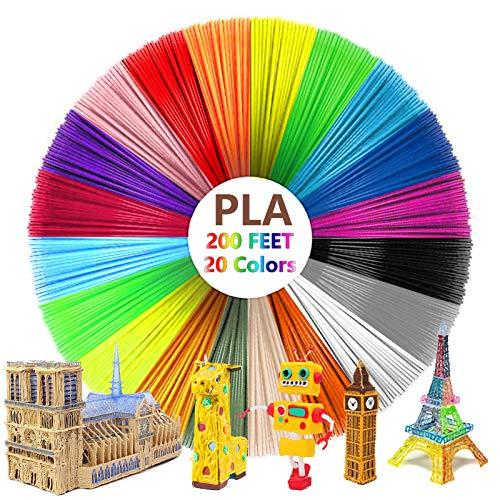 3D Pen Filament 200ft, SPOKKI 20 Color 3D Printing Pen PLA Filament Refills High-Precision Diameter with 1.75mm Hypothermia Filament Pack for Kids Gifts (20 Colors X 10ft Each = 200FT)