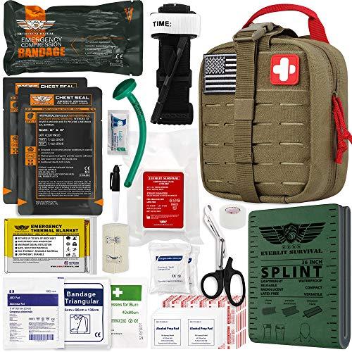 EVERLIT Emergency Trauma Kit GEN-II Mil-Spec Nylon Laser Cut Pouch with Aluminum Tourniquet 36' Splint, Military Combat Tactical IFAK for First Aid Response Bleeding Control (GEN-2 Coyote Brown)