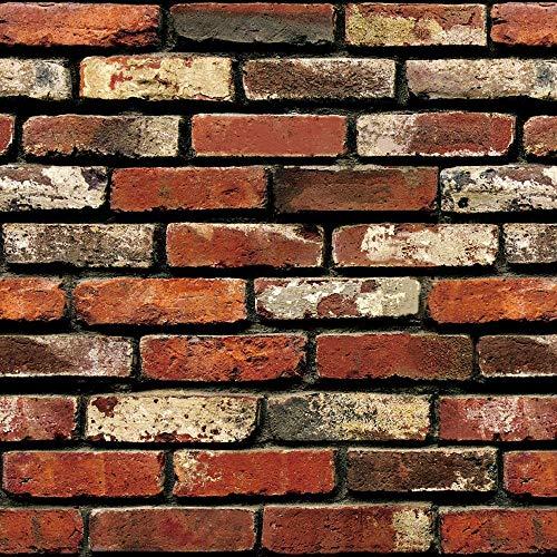 "Brick Peel and Stick Wallpaper - Self Adhesive Wallpaper - Easily Removable Wallpaper - 3D Wallpaper Brick Look – Use as Wall Paper, Peel and Stick Backsplash - 17.71"" Wide x 197"" Long (4)"
